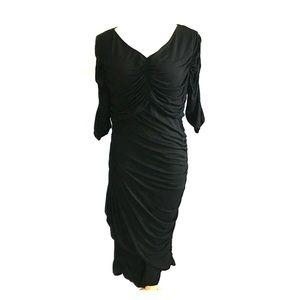 J. Peterman Black Cocktail Dress With Ruching
